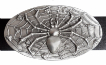 Spider On Her Web Pewter Belt Buckle - BB1236